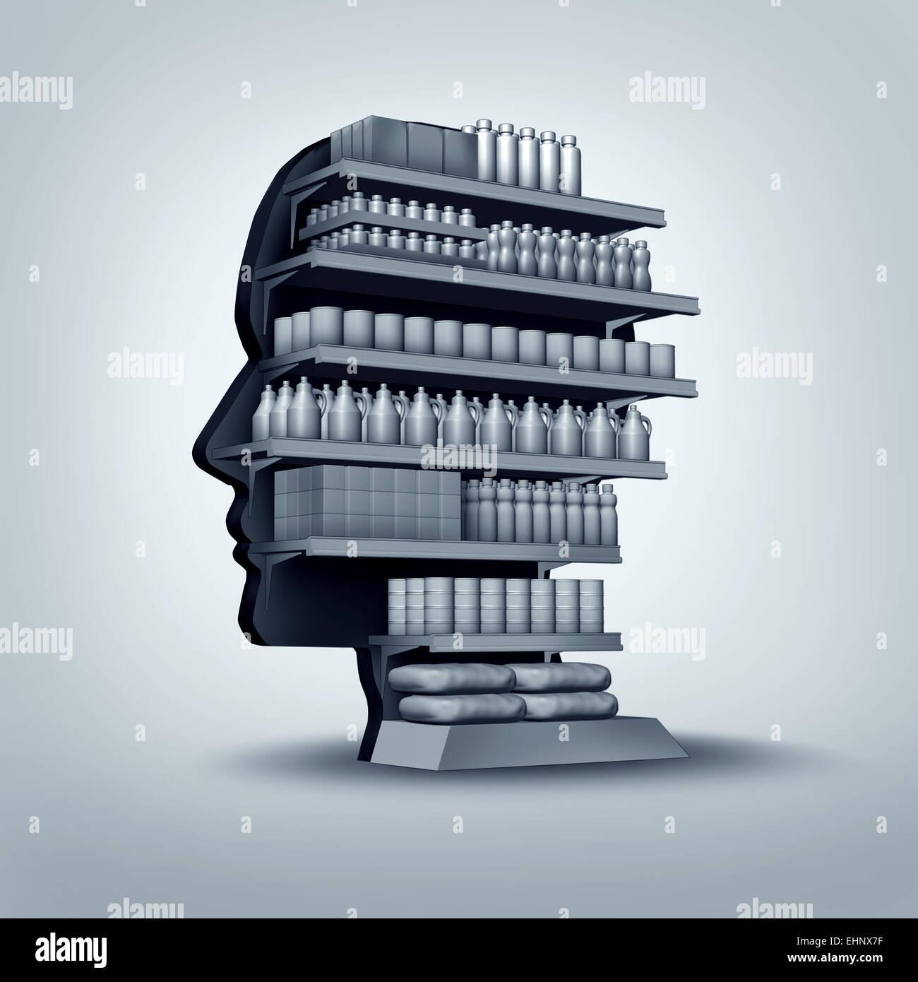 Consumatori e clienti nozione come un negozio scaffalatura conformata come una testa umana con prodotti generici Immagini Stock