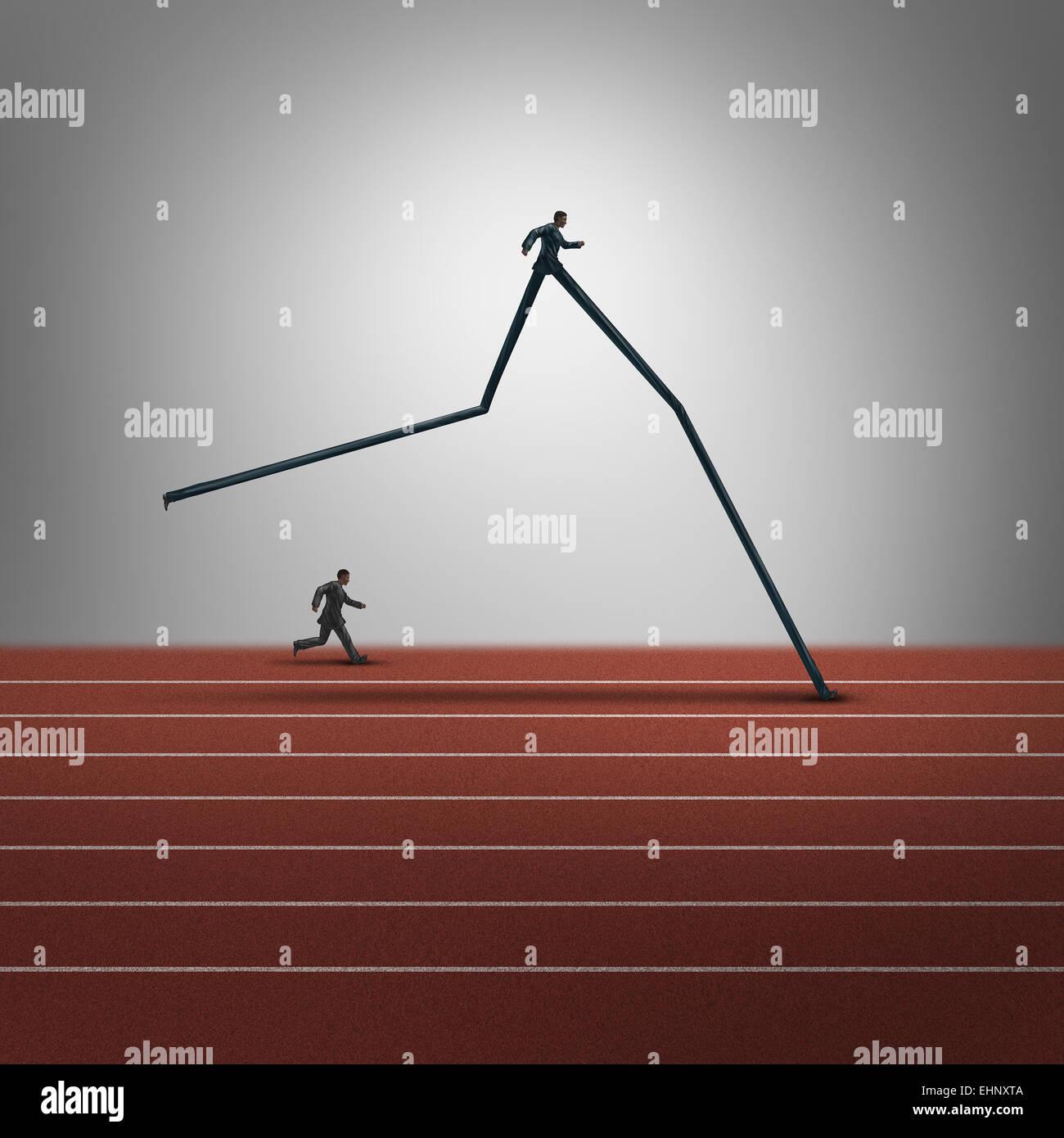 Competenze aziendali concetto di vantaggio competitivo e una posizione dominante come simbolo di due imprenditori Immagini Stock