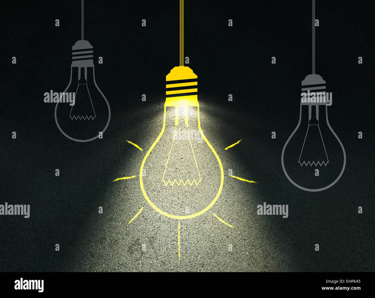 Disegno della lampadina della luce sulla parete di cemento Immagini Stock