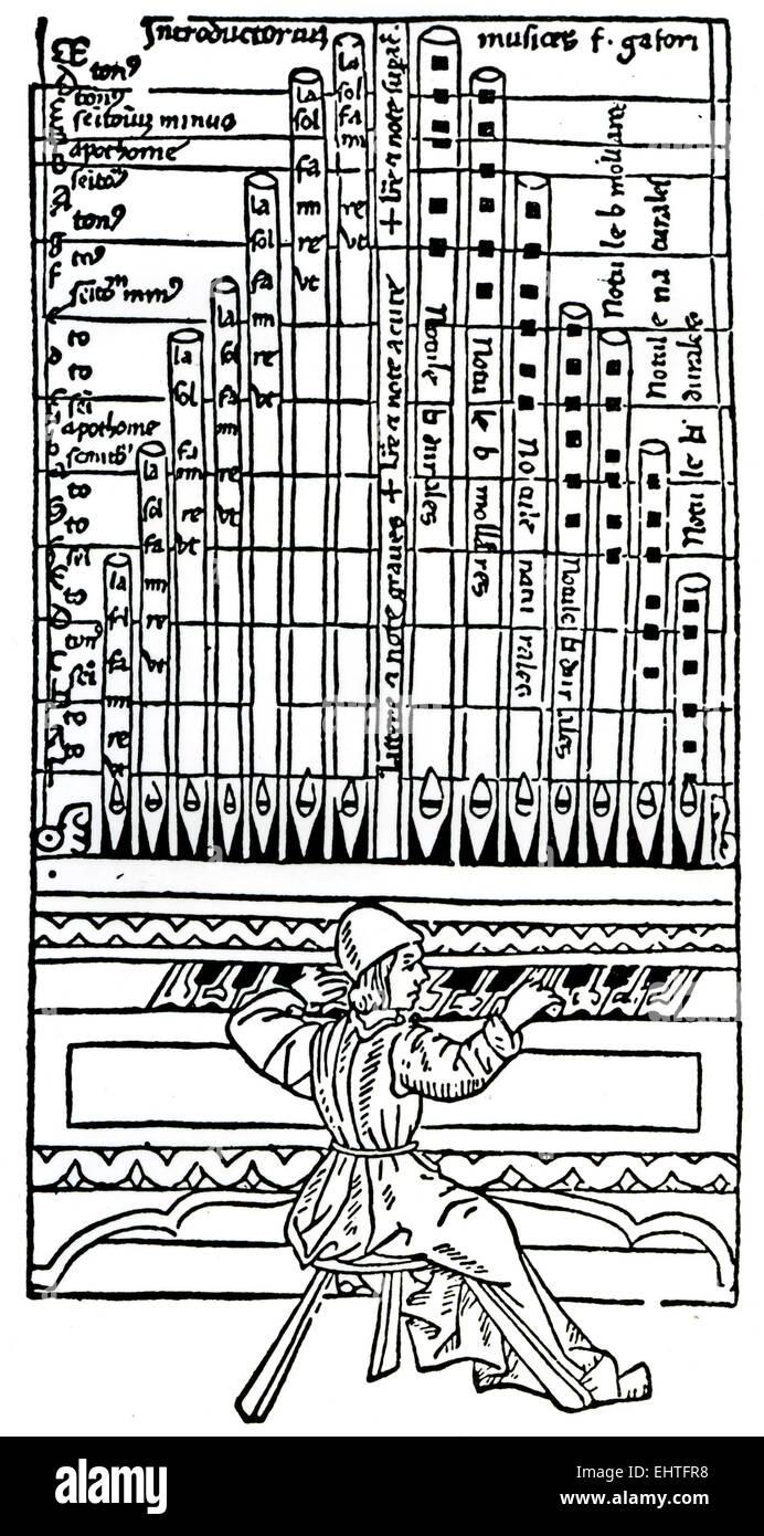 Organista medievale Immagini Stock