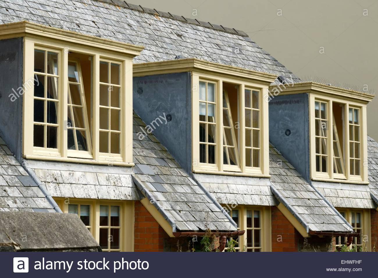 Close up di una fila di 3 piatto abbaini sul tetto con una for Finestra nel tetto