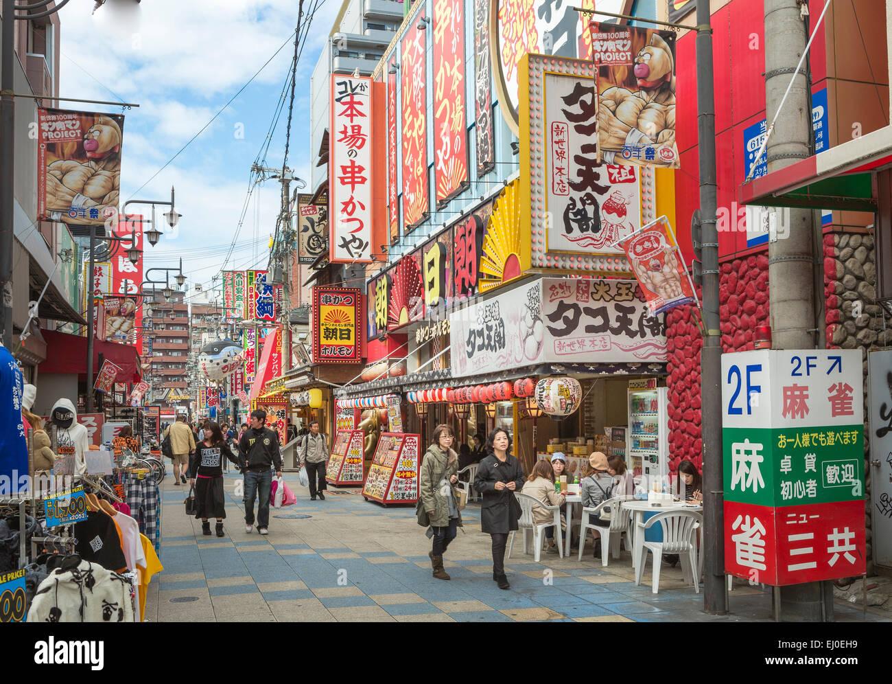 Giappone, Asia, Kansai di Osaka, città di Shin Sekai Tennoji, colorato, spot pubblicitari, pubblicità, Immagini Stock