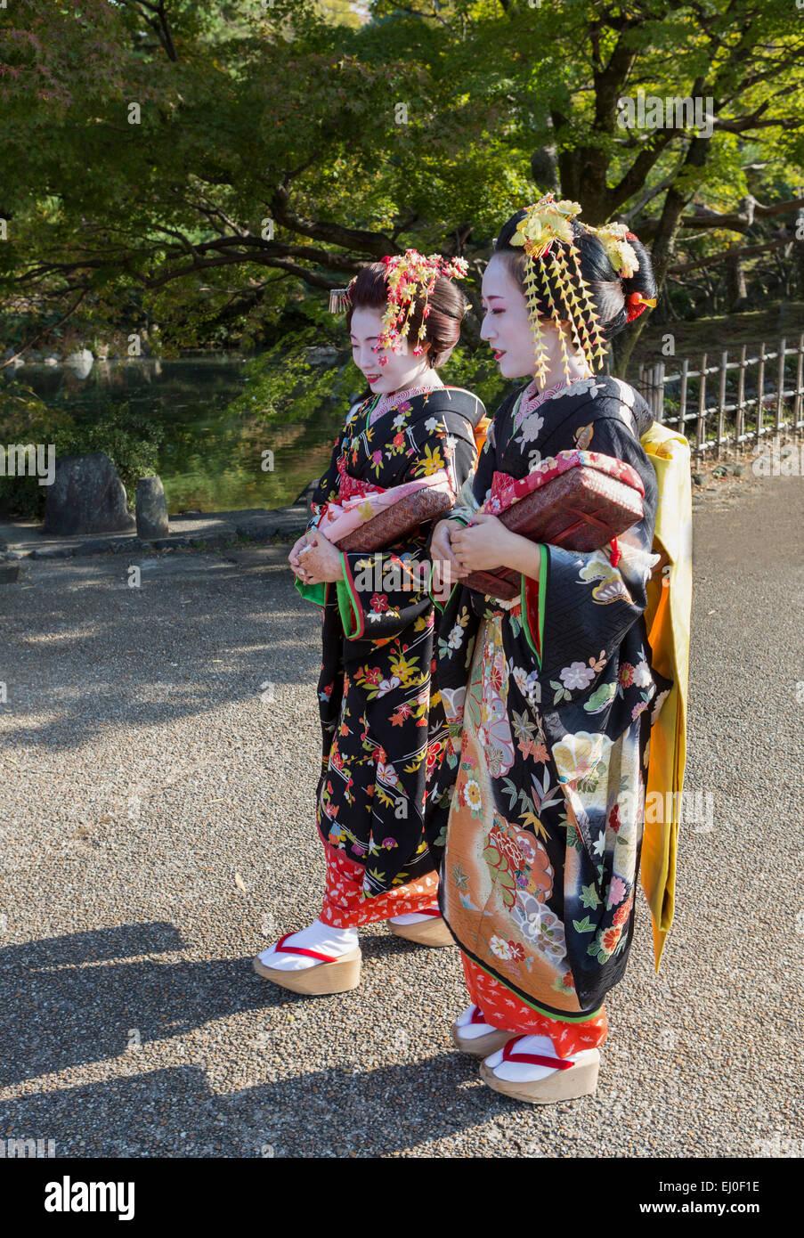 Giappone, Asia, Kyoto, Outdoor, colorato, costume, geishe, nessun modello-release, ragazze, Giapponese kimono, compongono, Immagini Stock
