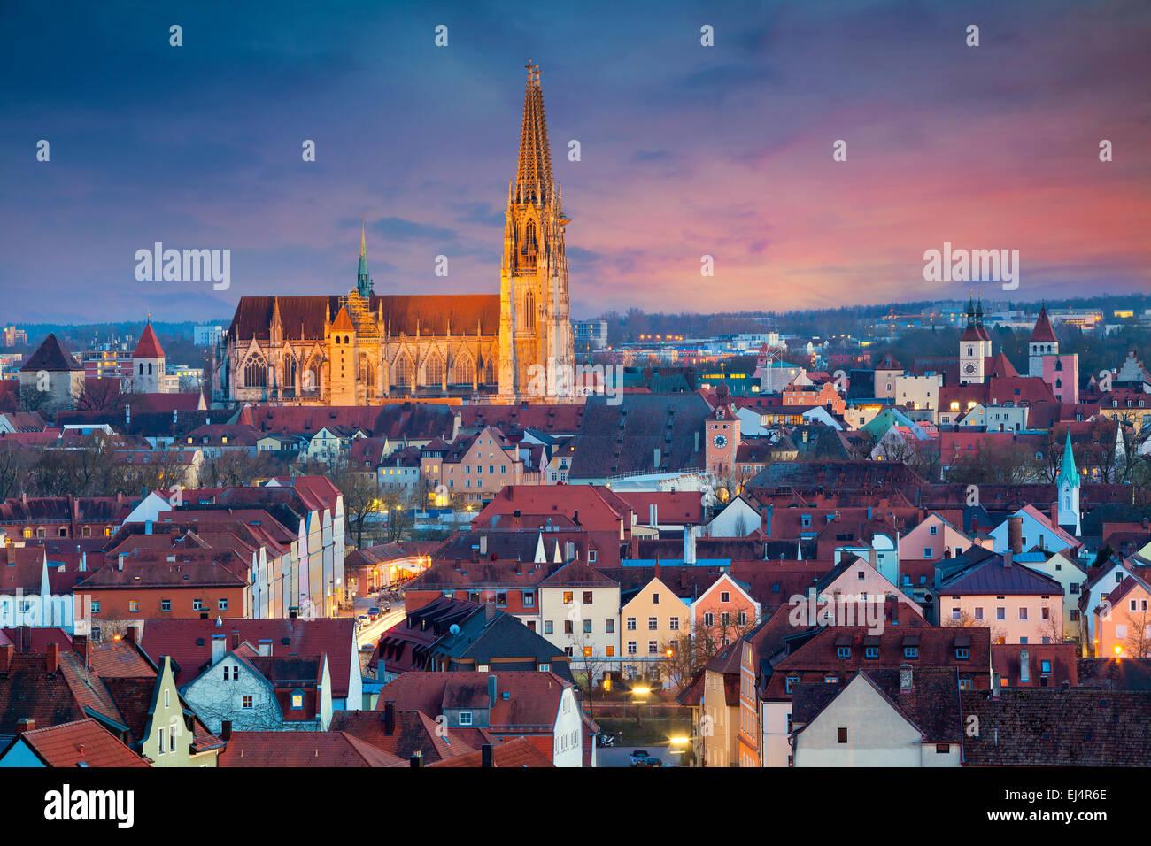 Regensburg. Immagine del patrimonio Unesco e la storica città bavarese di Regensburg. Immagini Stock