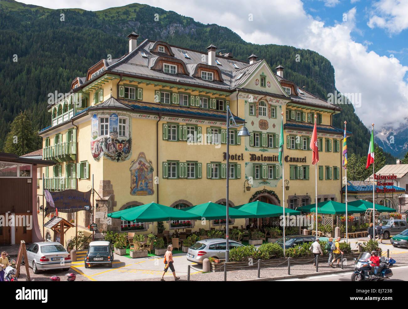 Hotel Dolomiti, Canazei, Trentino-Alto Adige, Italia Immagini Stock