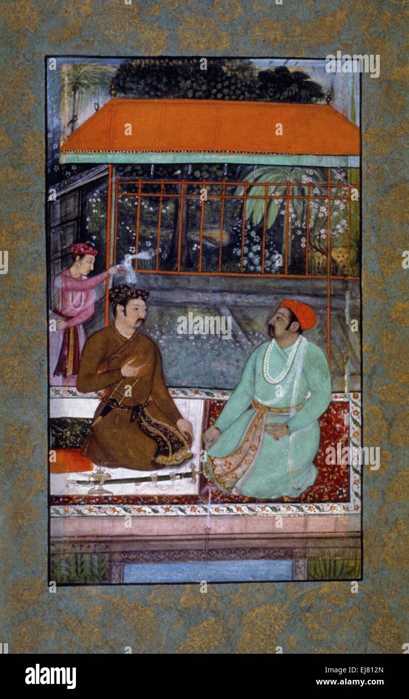 Una di Mughal e Rajput di conversare. Mughal pittura in miniatura circa 1600 A.D. India Immagini Stock