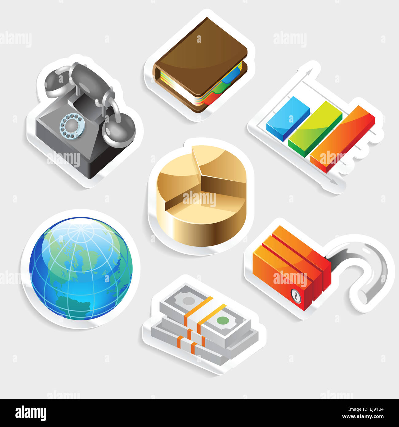 Sticker Icon Set per metafore di business Immagini Stock