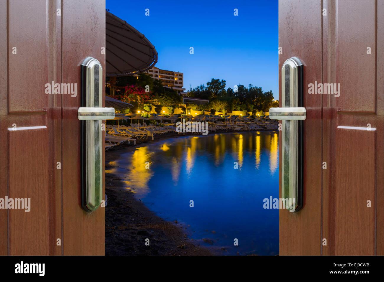 Spiaggia di notte Foto Stock