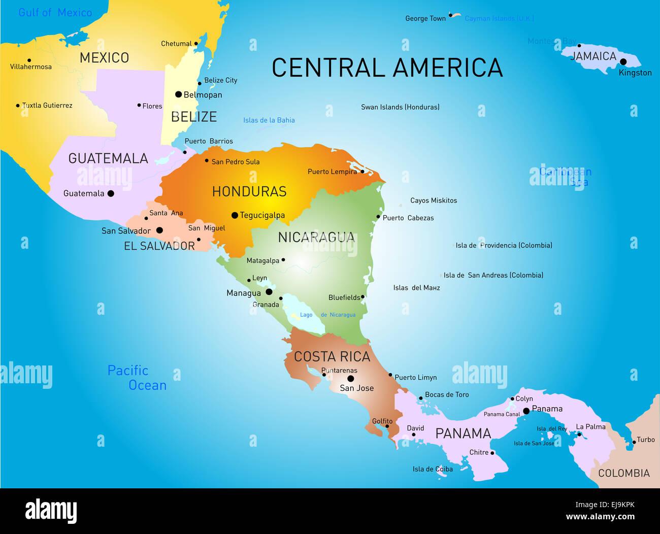 Cartina Geografica Centro America.America Centrale Mappa Foto Immagine Stock 80118379 Alamy