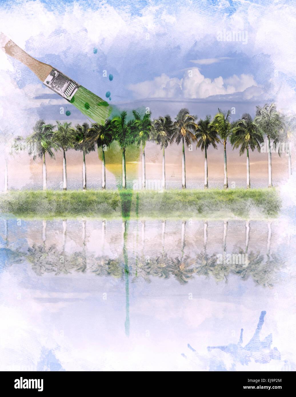 Immagine ad acquerello del paesaggio Immagini Stock