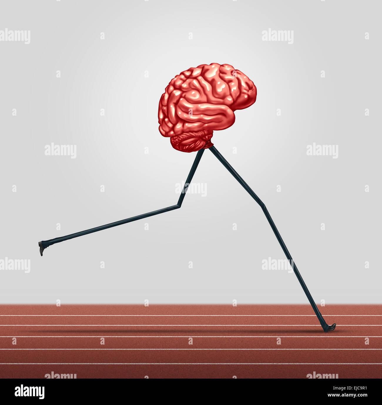 Fast cervello e memoria il concetto di formazione come un pensiero umano organo con gambe in esecuzione su una traccia Immagini Stock