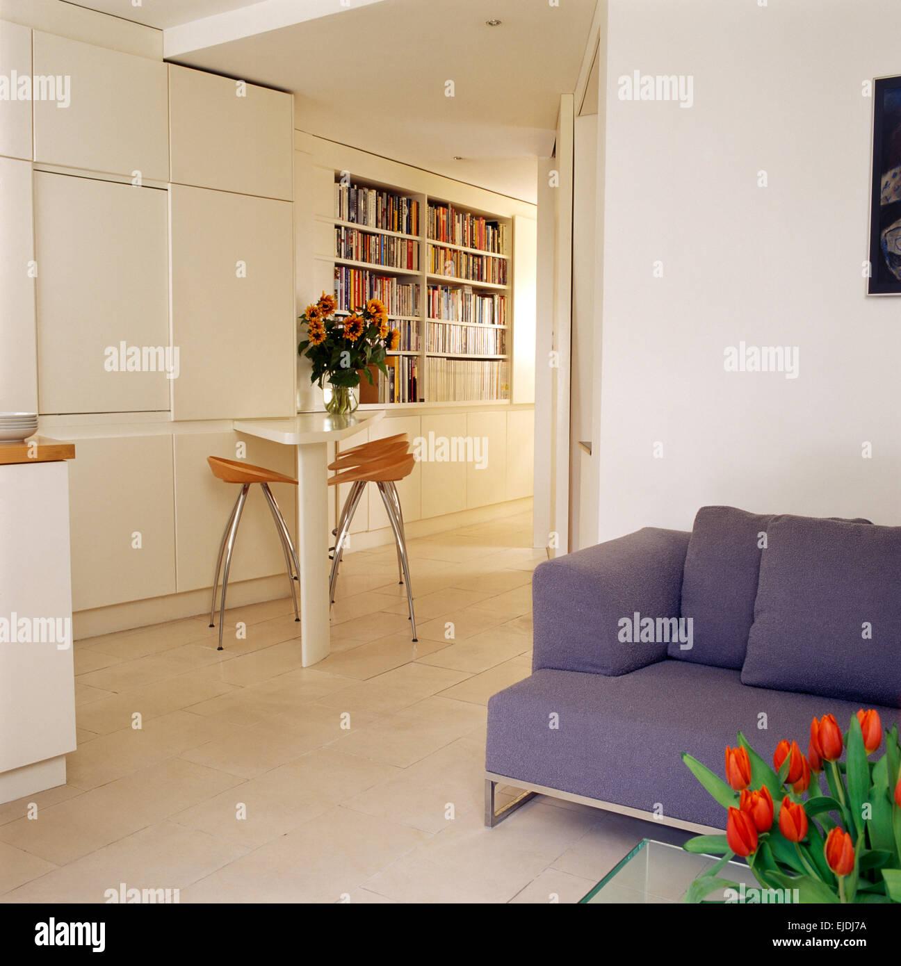 Malva di divano in cucina a pianta aperta e spazio soggiorno con ...