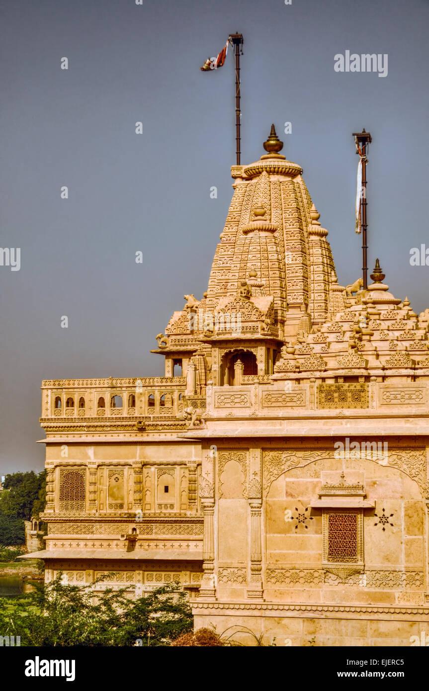 Vista panoramica del tempio nel deserto di Thar Immagini Stock