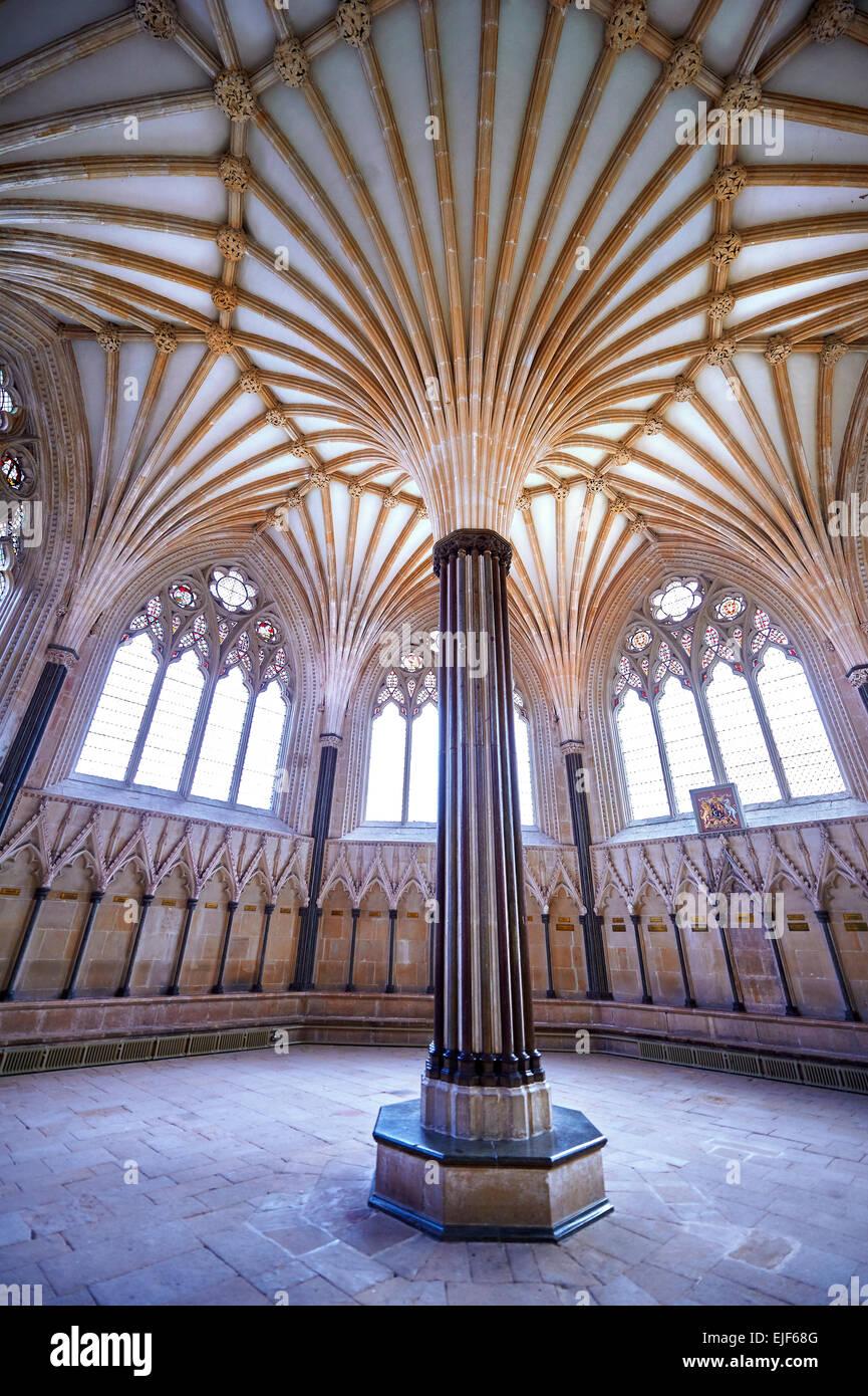 Il soffitto a volta del capitolo casa medievale della Cattedrale di Wells costruito nei primi inglese in stile gotico Immagini Stock