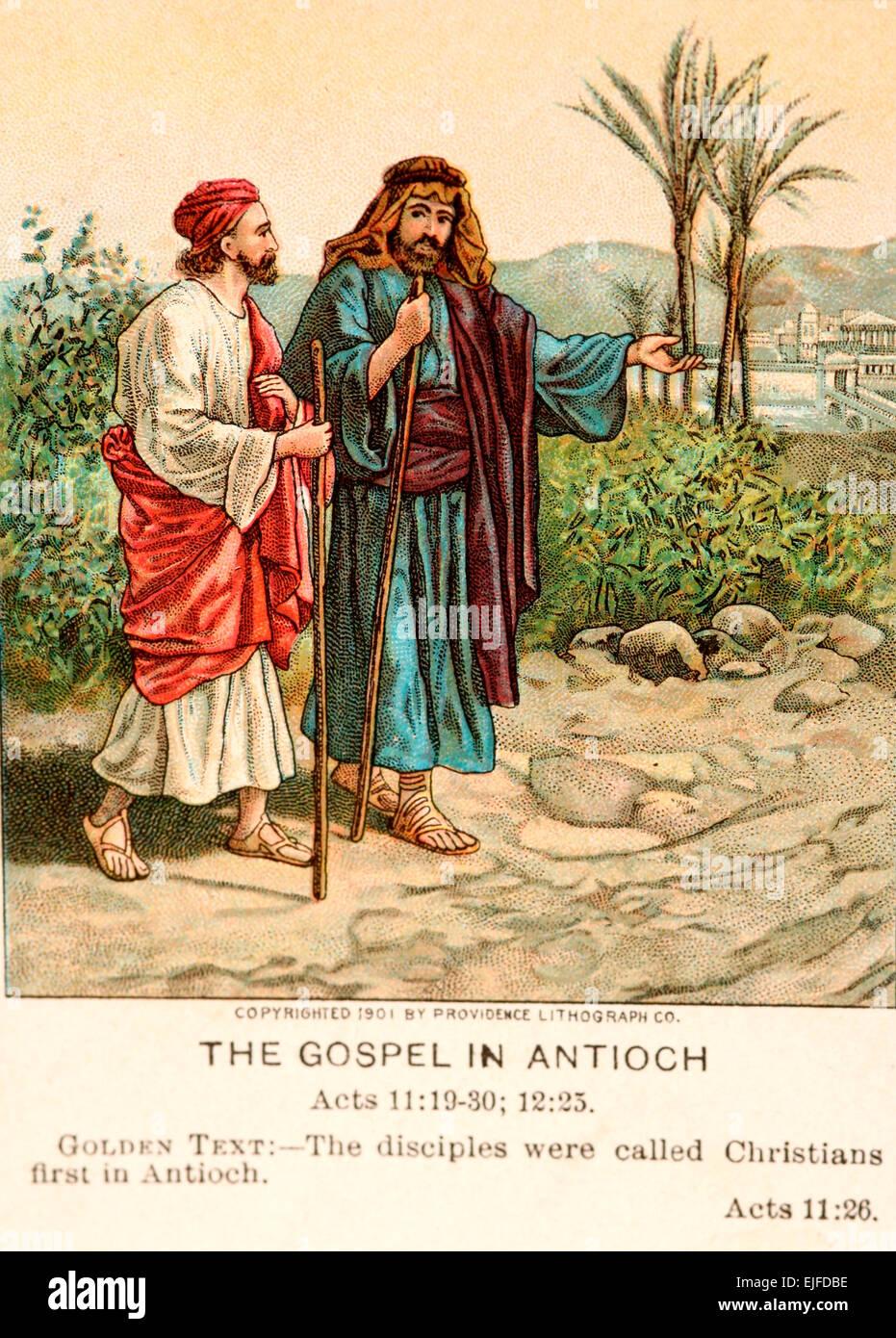 Una Bibbia card raffigurante il Vangelo ad Antiochia, Paolo sulla strada di conversione. Immagini Stock
