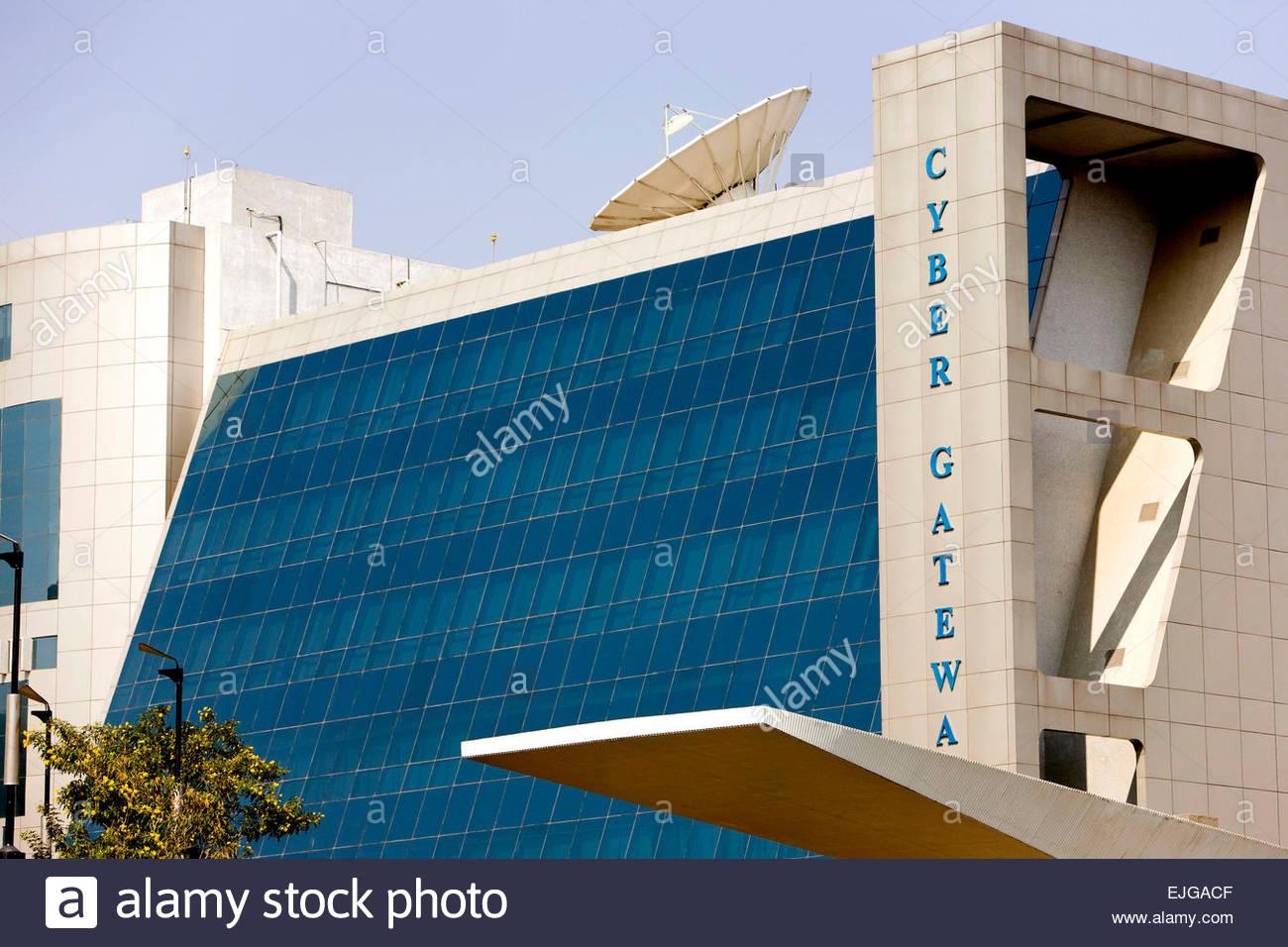 Hyderabad. Hi-Tech City. Cyber edificio del Gateway. Immagini Stock