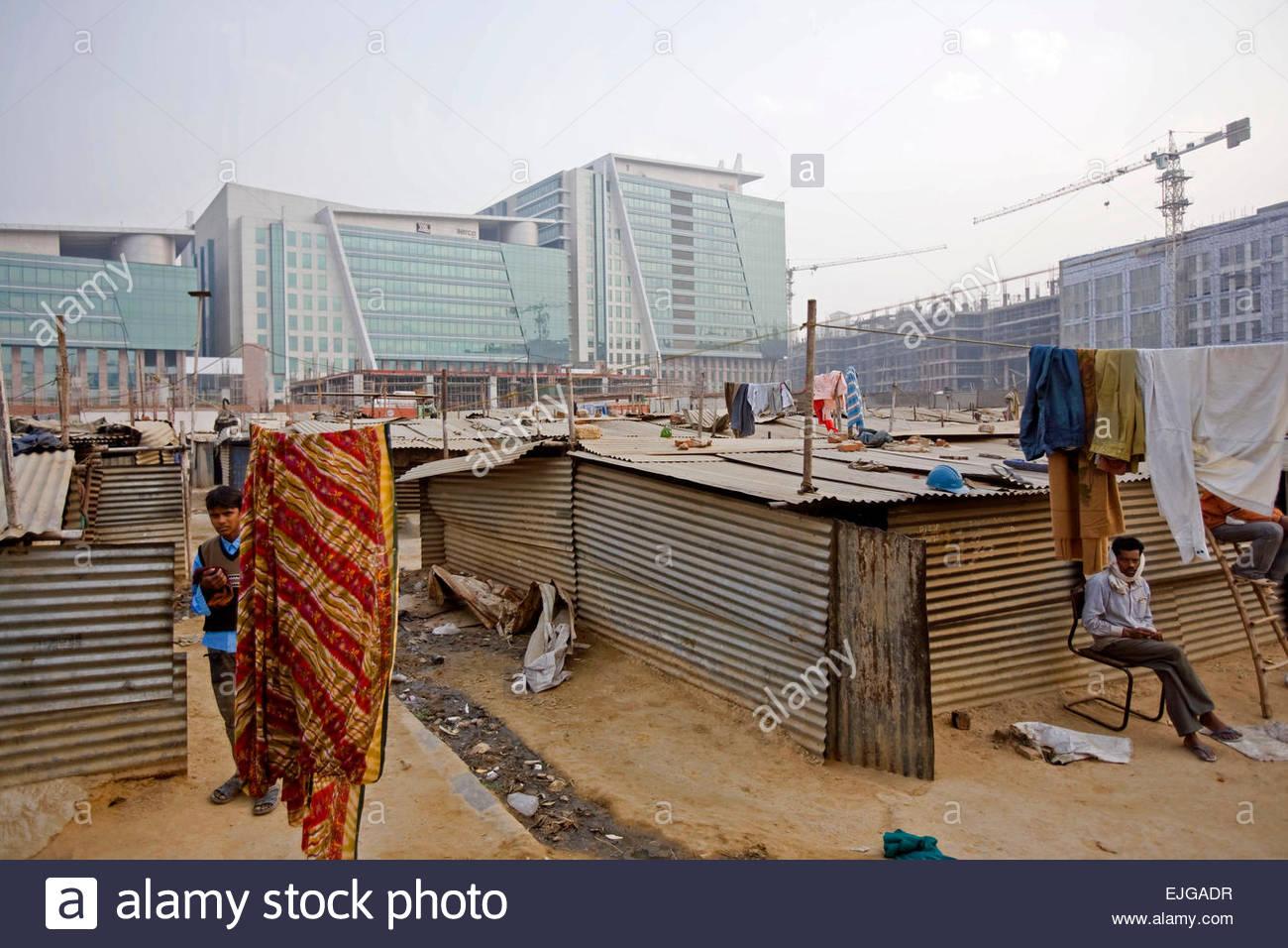 Il lavoratore che dimora in Gurgaon. Immagini Stock