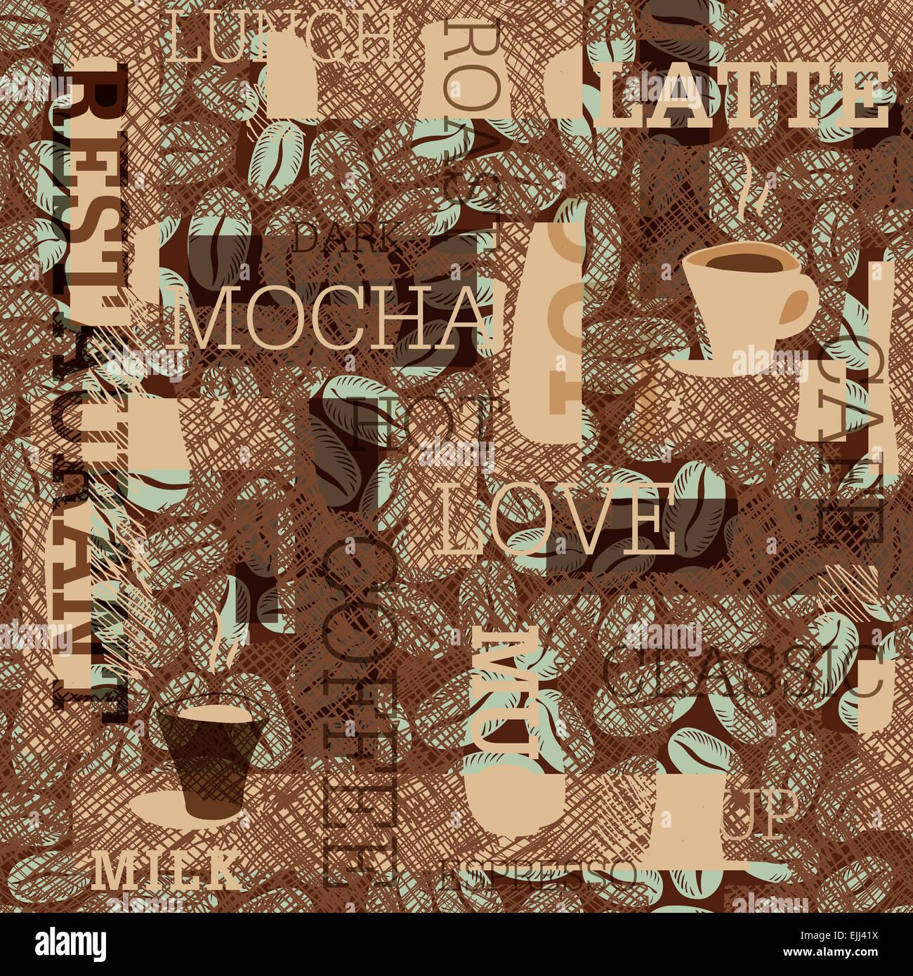 Il caffè a tema sfondo senza giunture Immagini Stock