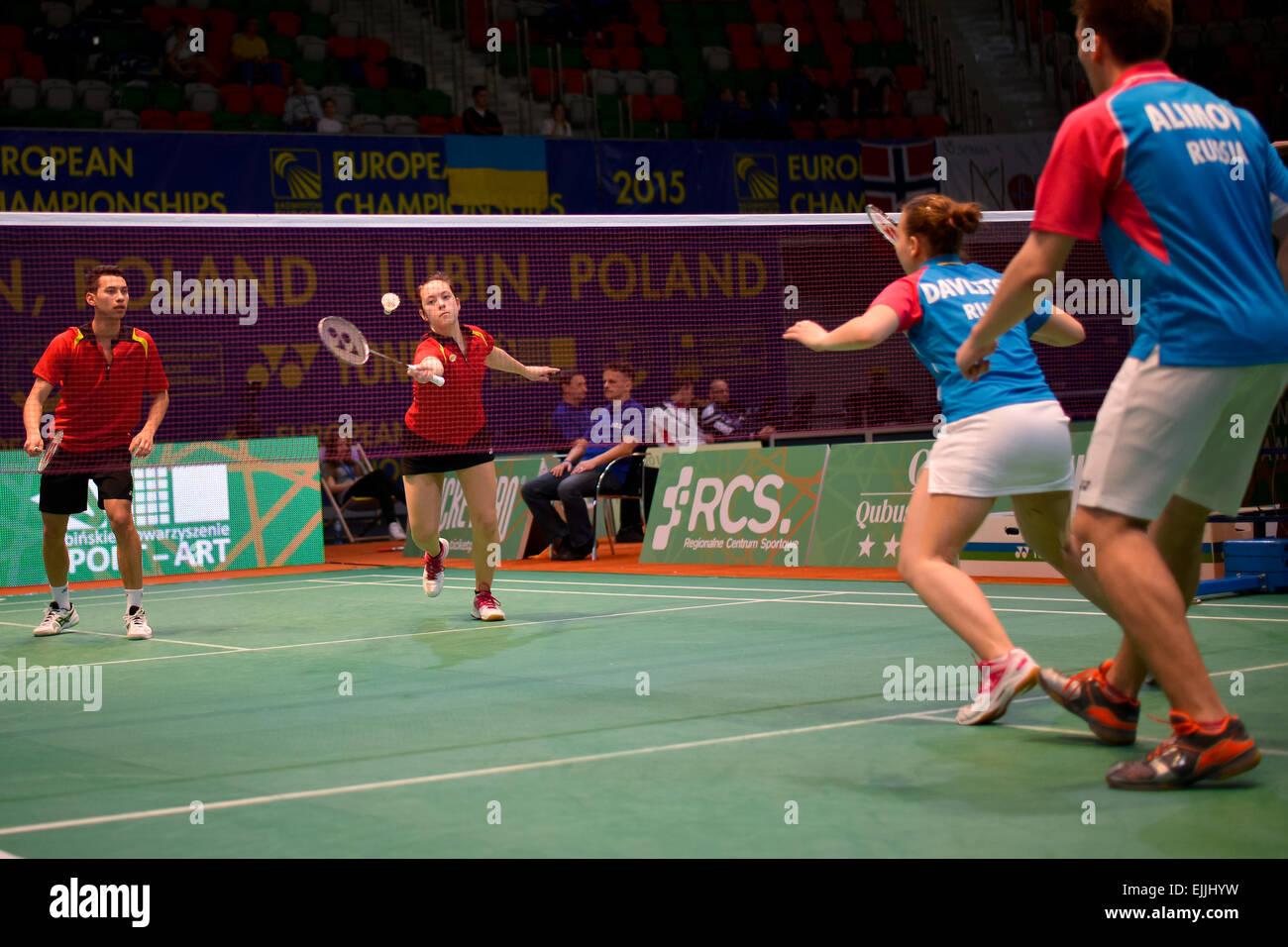Lubin, Polonia. 27 Mar, 2015. Team nel torneo di badminton durante Campionati Europei Junores 2015. Match tra Belgio Immagini Stock