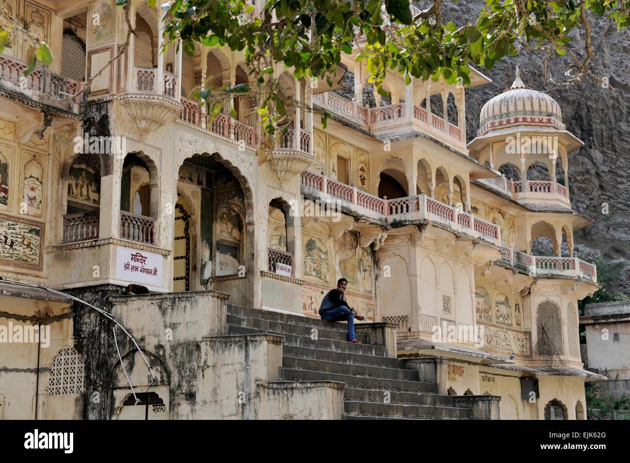 Monkey Temple (Galwar Bagh), Jaipur India Immagini Stock
