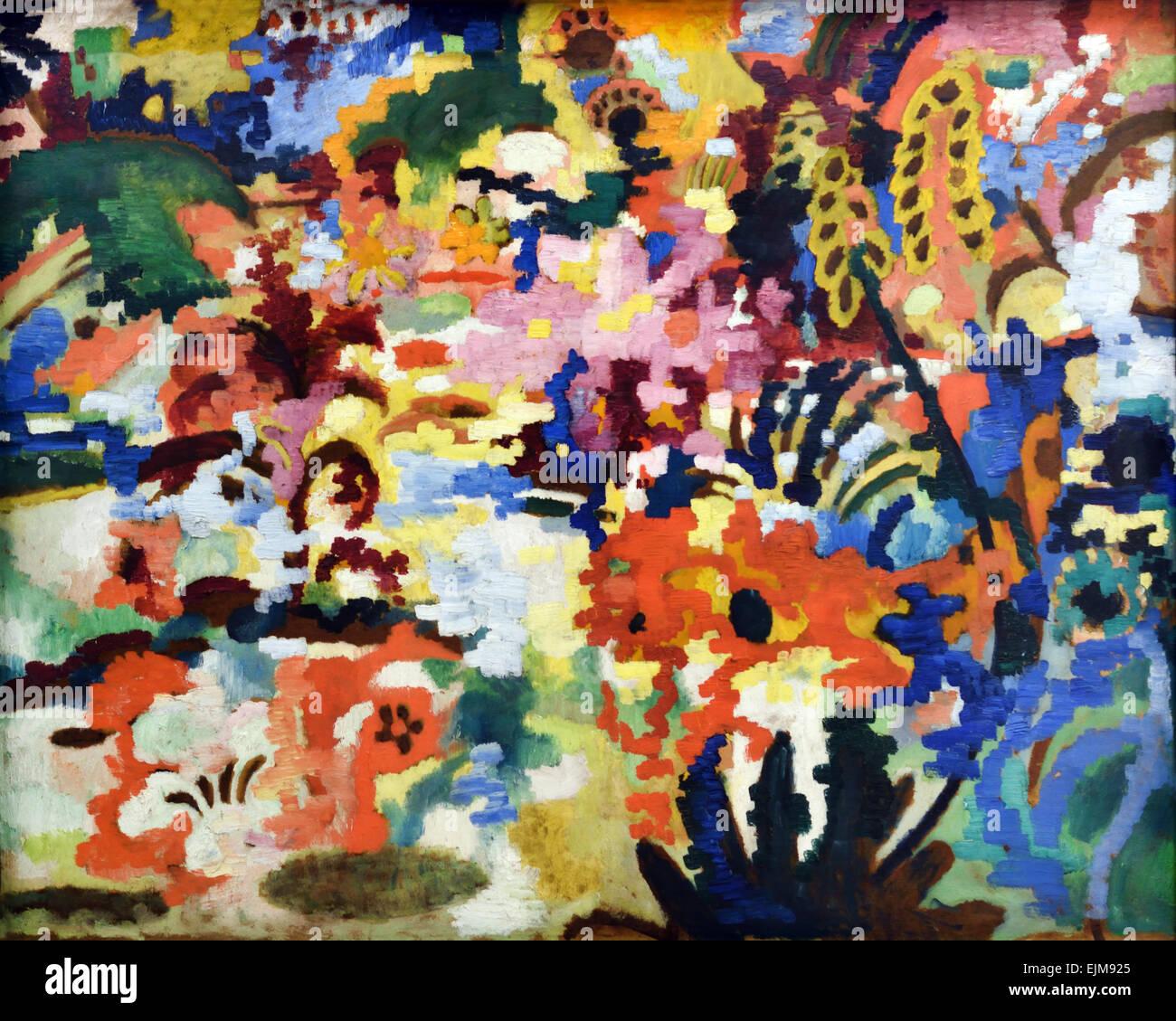 August Macke 1887-1914 Grosser Blumenteppich - grande tappeto di fiori 1912 il tedesco in Germania Immagini Stock