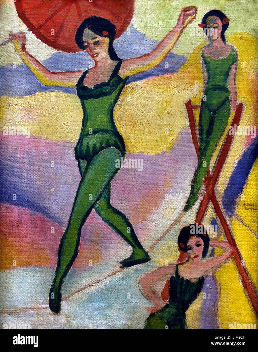 Seiltänzerinnen - Fune ballerini 1910 August Macke 1887-1914 il tedesco in Germania Immagini Stock