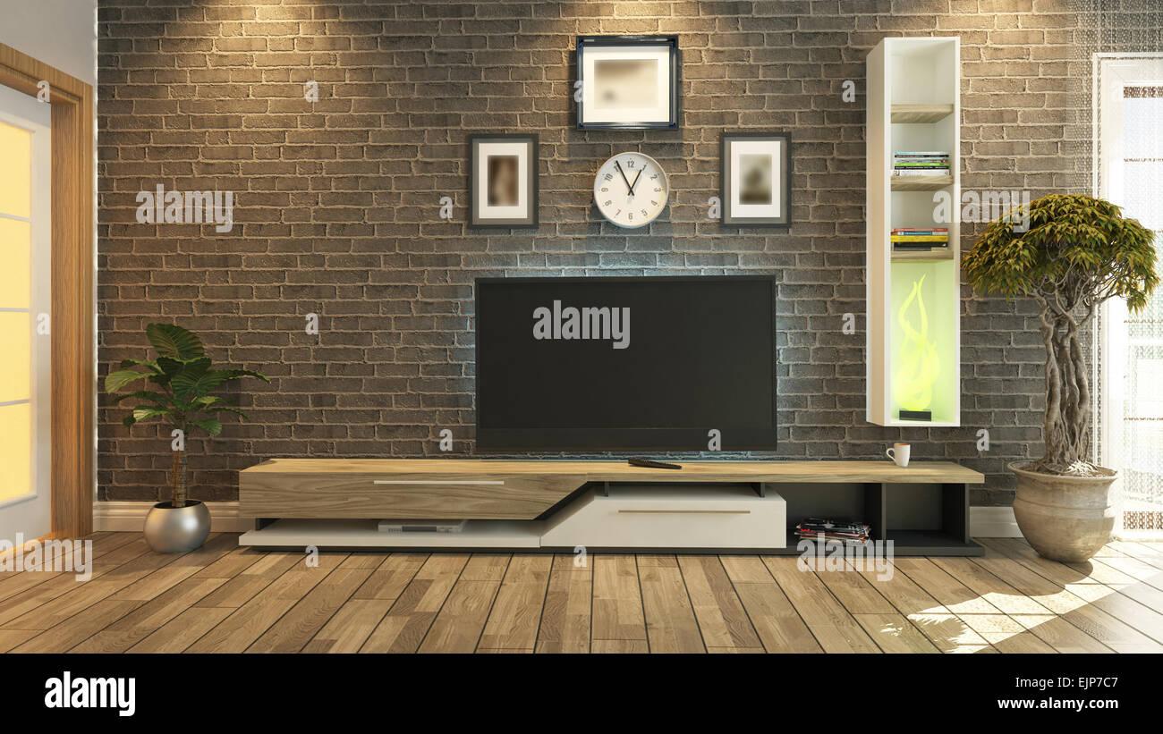 D rendering sala tv salone o soggiorno con parete di mattoni e