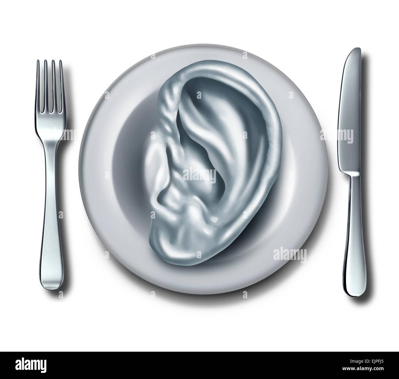 Consulenza dietetica e nutrizione Informazioni sul concetto di cibo come un bianco a forma di piatto con un orecchio Immagini Stock