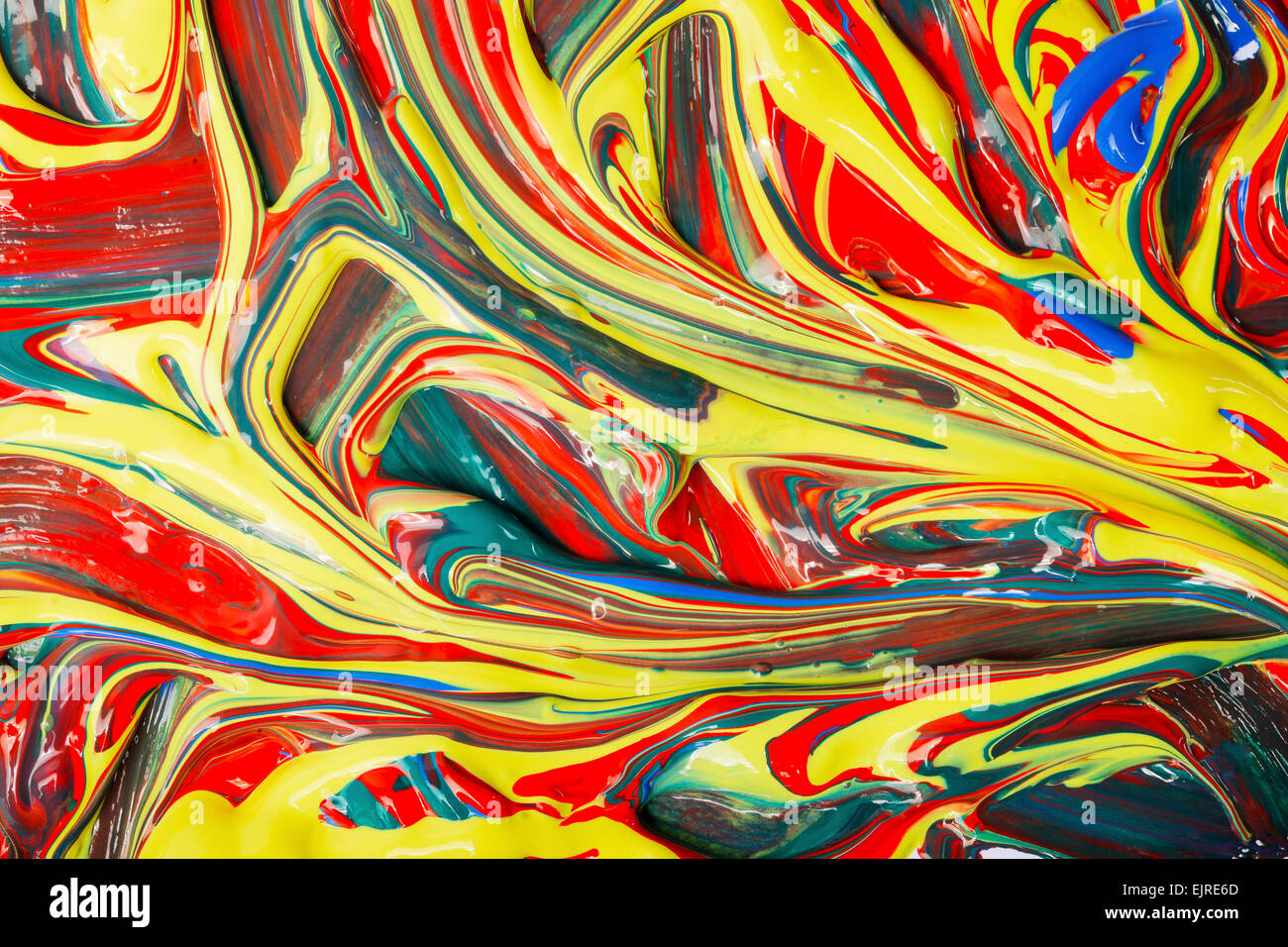 Diversi colori di artista vernici acriliche miscelate. Immagini Stock