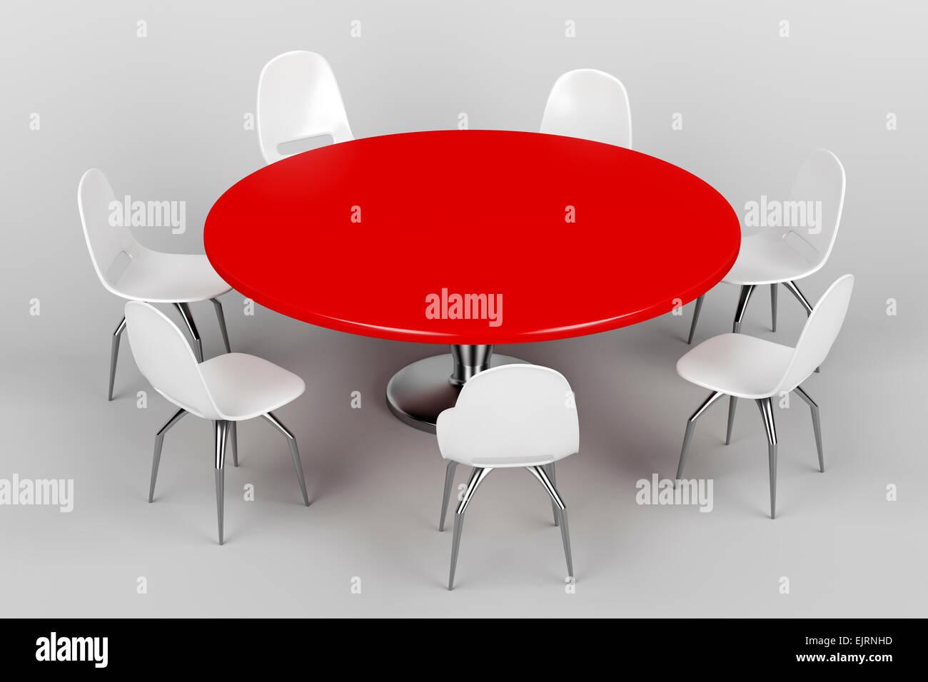 Conferenza tavola rotonda e sedie in plastica bianca in sala