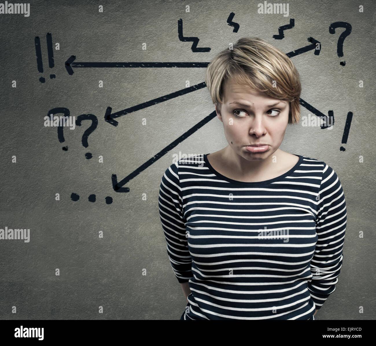 Illustrazione di una giovane donna in dubbio il concetto di confusione Immagini Stock