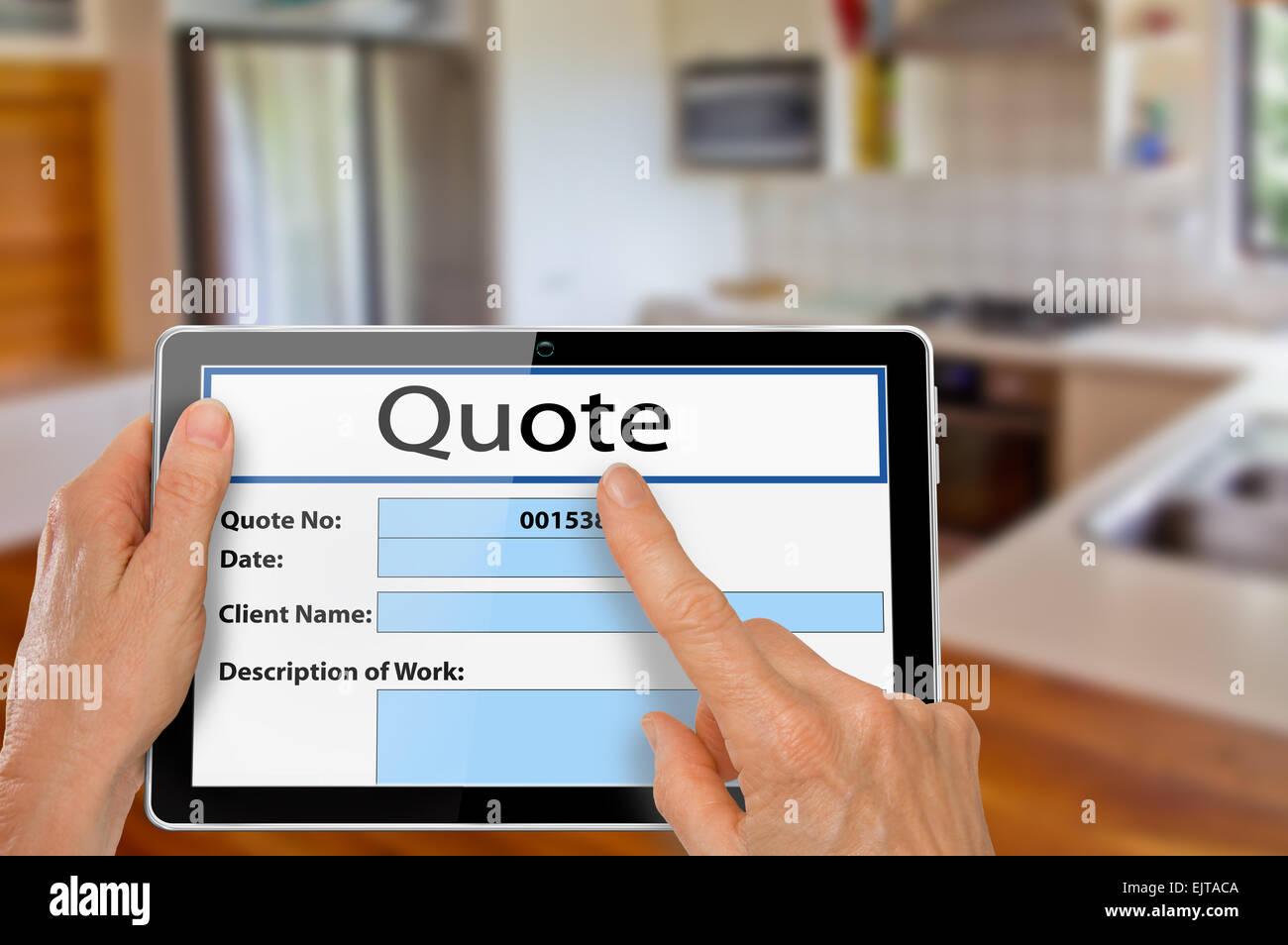 Le mani con il computer Tablet usando app di quotazione per ...