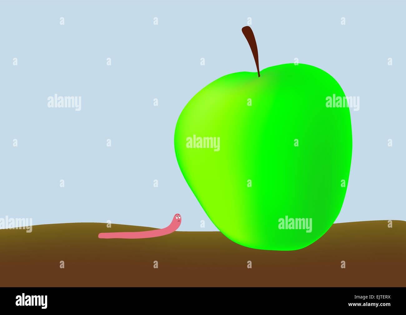 Piccolo verme e grande mela verde Immagini Stock