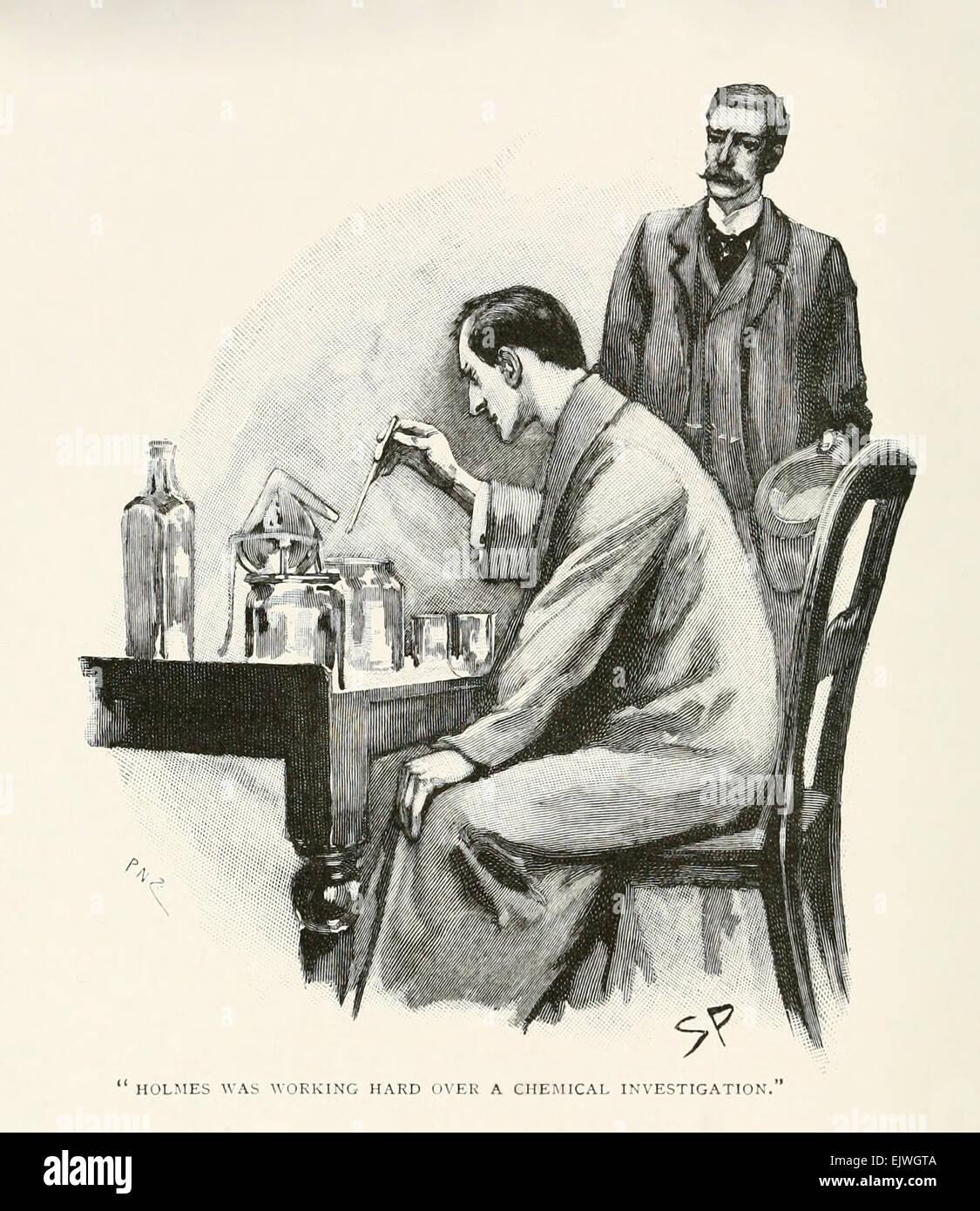 """Holmes stava lavorando duro su una analisi chimica - da """"il trattato navale"""" di Arthur Conan Doyle (1859 Immagini Stock"""