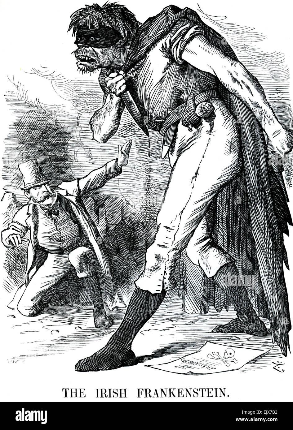 La IRISH FRANKENSTEIN Punch cartoon da John Tenniel pubblicato il 20 maggio 1882 Immagini Stock