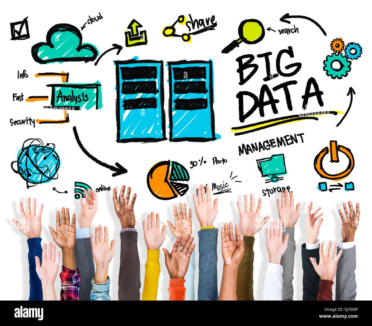 La diversità di persone grandi dati supportano il lavoro di squadra convivere Concept Immagini Stock