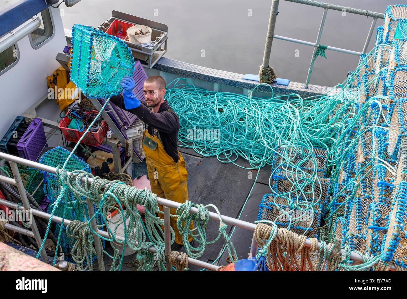 Neil McCulloch, pescatore di gamberi, caricando la sua barca da pesca con reti prima di uscire per andare a pesca Immagini Stock
