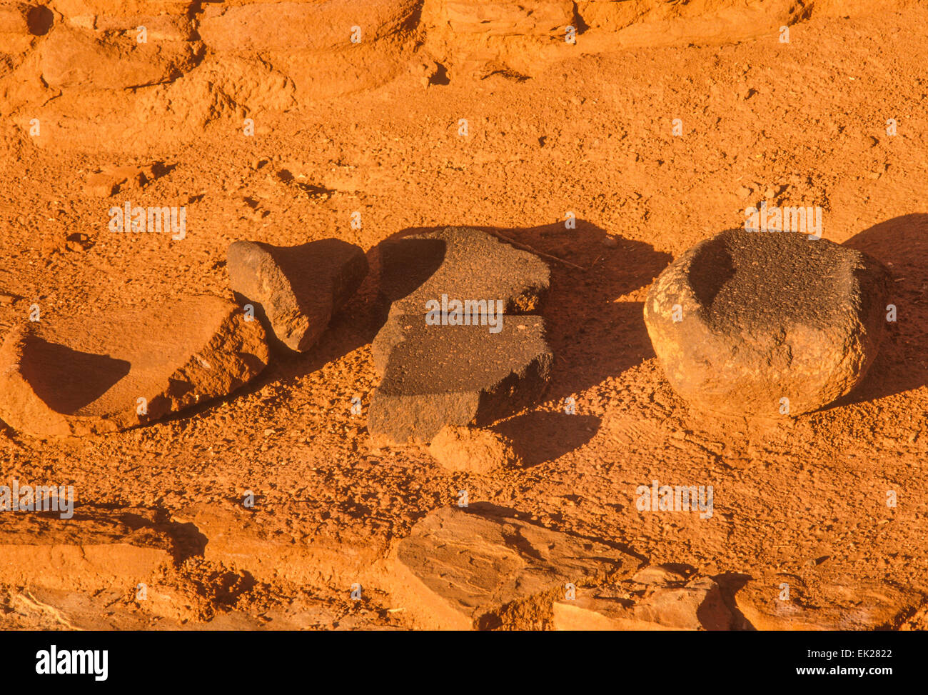 Mano e metate, Wupatki rovine Anasazi Indian, Wupatki National Monument, Arizona Immagini Stock