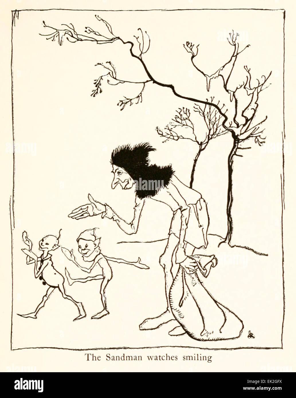Il Sandman watchers sorridenti - Illustrazione di Arthur Rackham (1867-1939) da 'Snickerty Nick e il Gigante' Immagini Stock