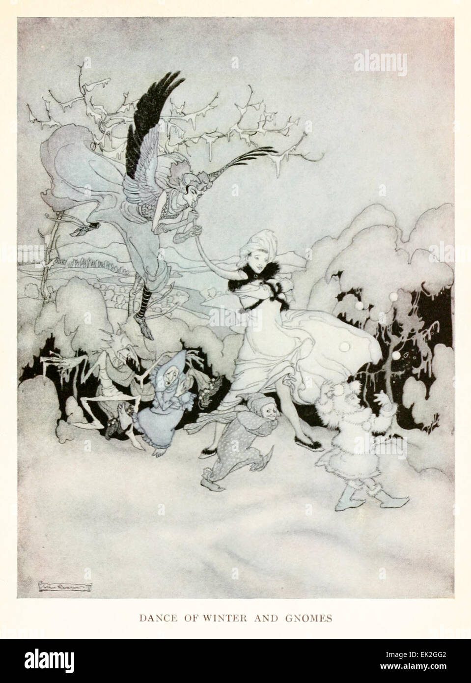 Danza di inverno e gli gnomi - Illustrazione di Arthur Rackham (1867-1939) da 'Snickerty Nick e il Gigante' Immagini Stock