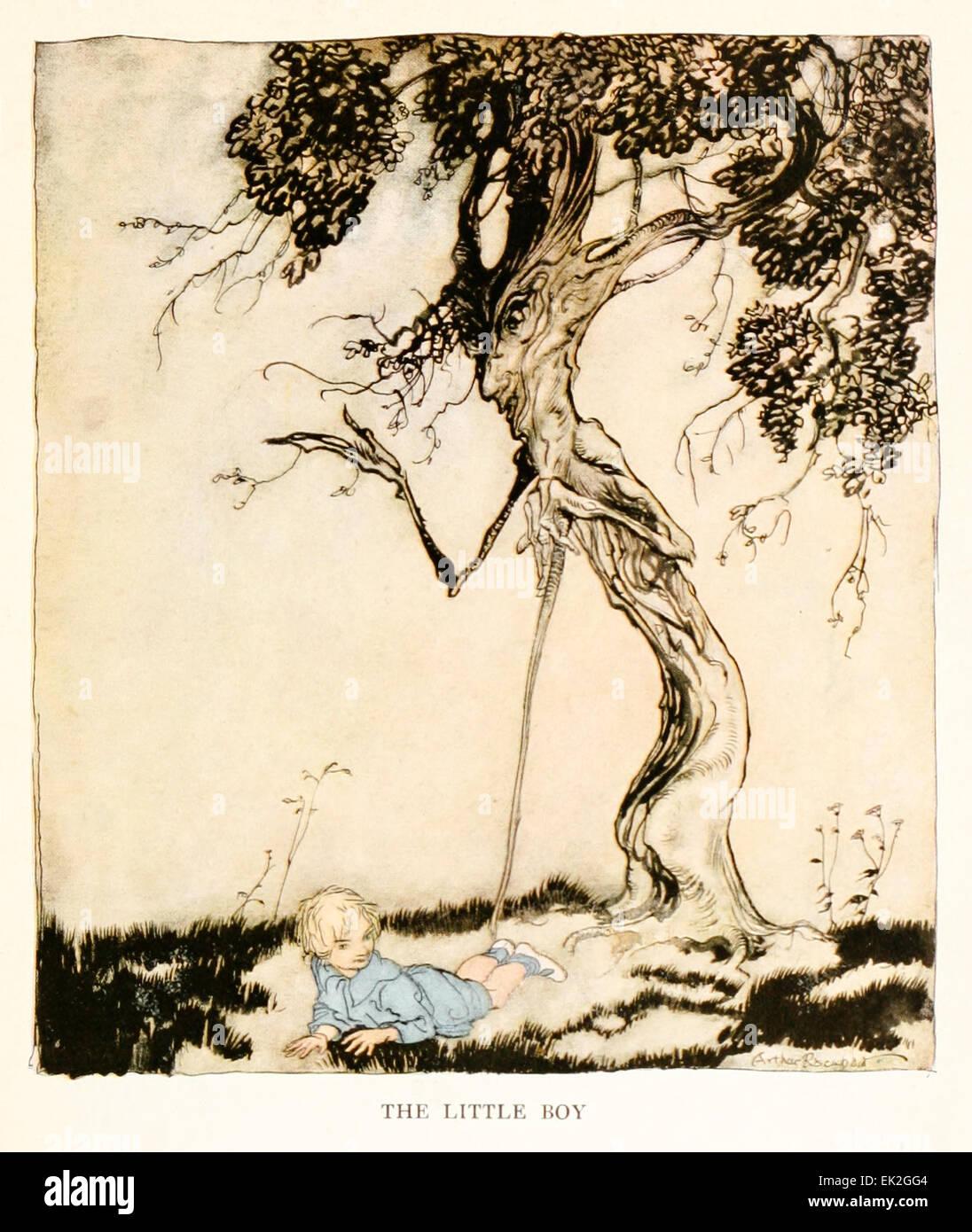 Il ragazzino - Illustrazione di Arthur Rackham (1867-1939) da 'Snickerty Nick e il Gigante' di Julia Ellsworth Immagini Stock