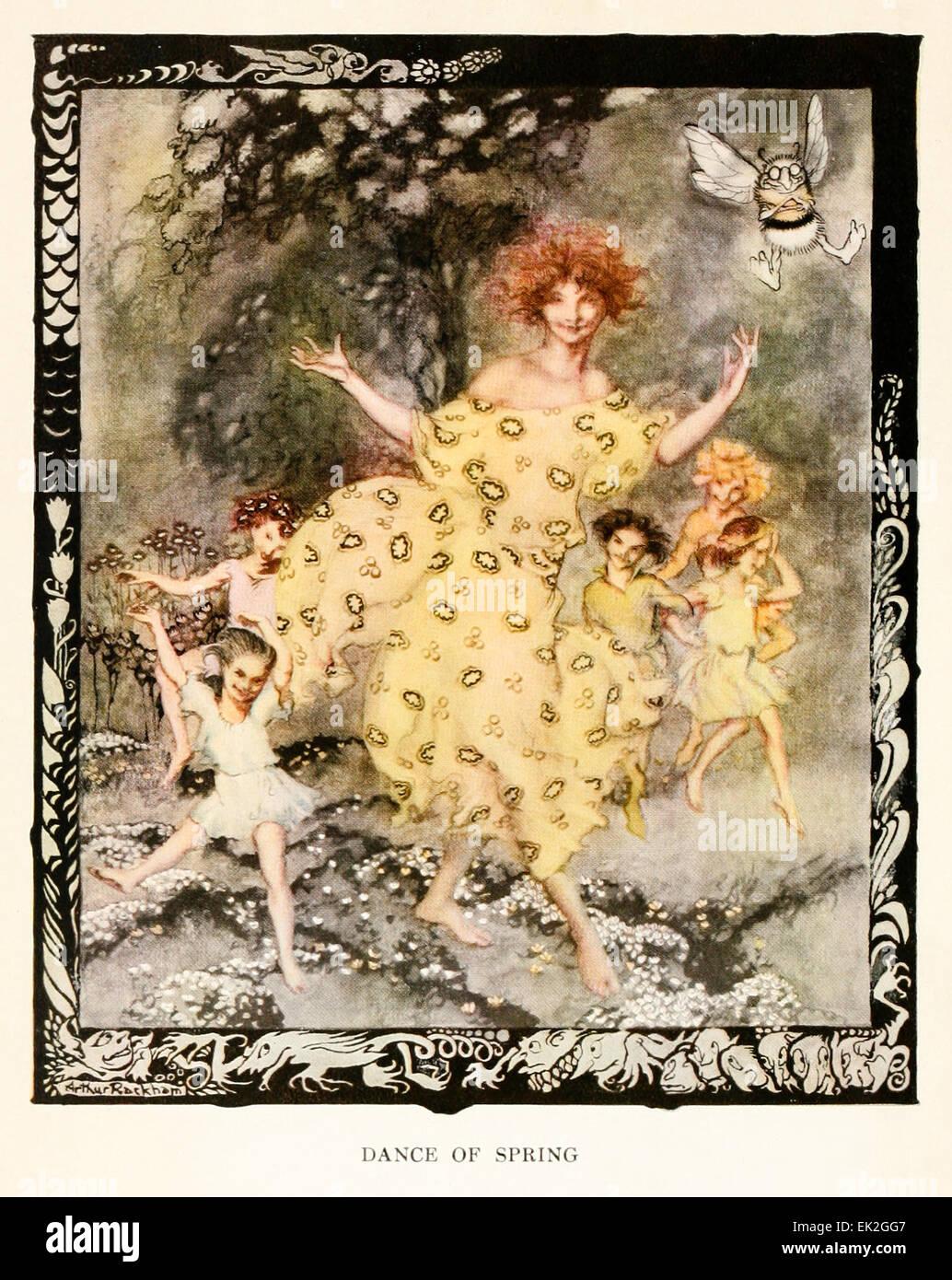 Ballo di primavera - Illustrazione di Arthur Rackham (1867-1939) da 'Snickerty Nick e il Gigante' di Julia Immagini Stock