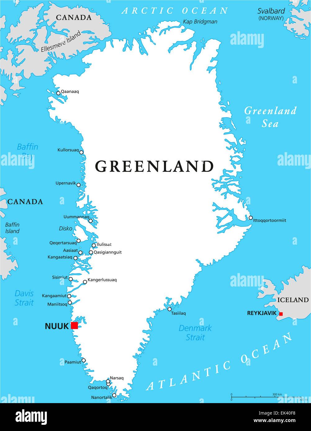 Cartina Geografica Della Groenlandia.La Groenlandia Mappa Politico Foto Stock Alamy