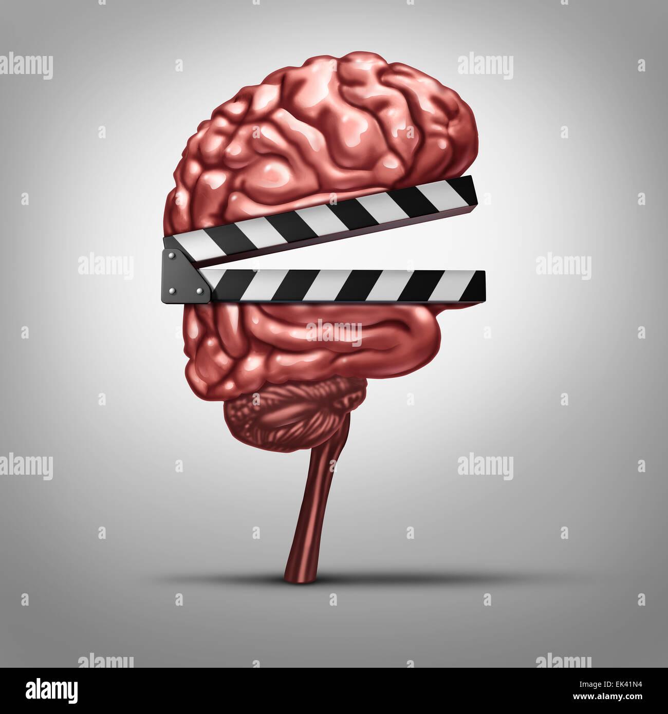 Apprendimento video e clip di istruzione o formazione online come clapboard conformata come un cervello umano come Immagini Stock