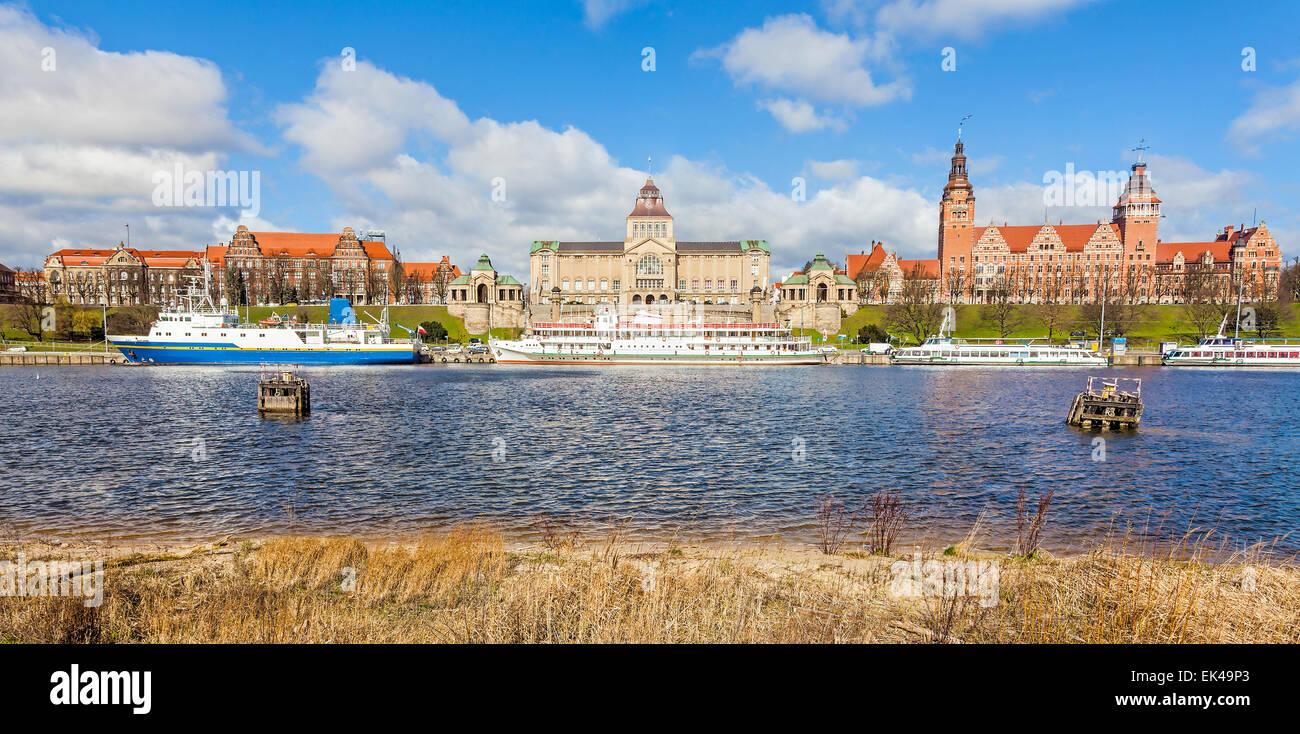 Vista panoramica del lungomare di Szczecin, Polonia. Immagini Stock