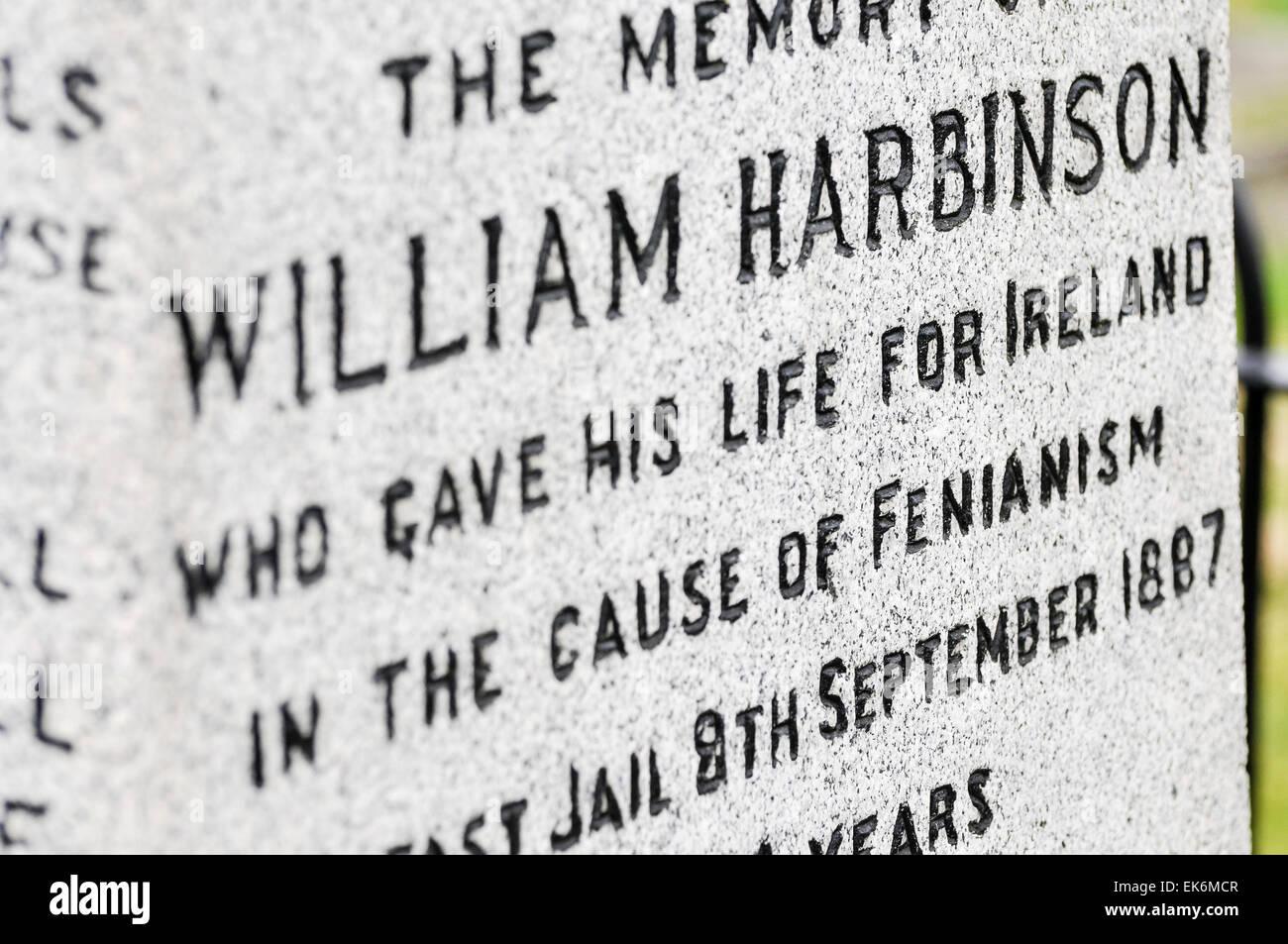 Tomba di William Harbinson, 'che ha dato la sua vita per l'Irlanda per la causa di Fenianism, 8 settembre Immagini Stock