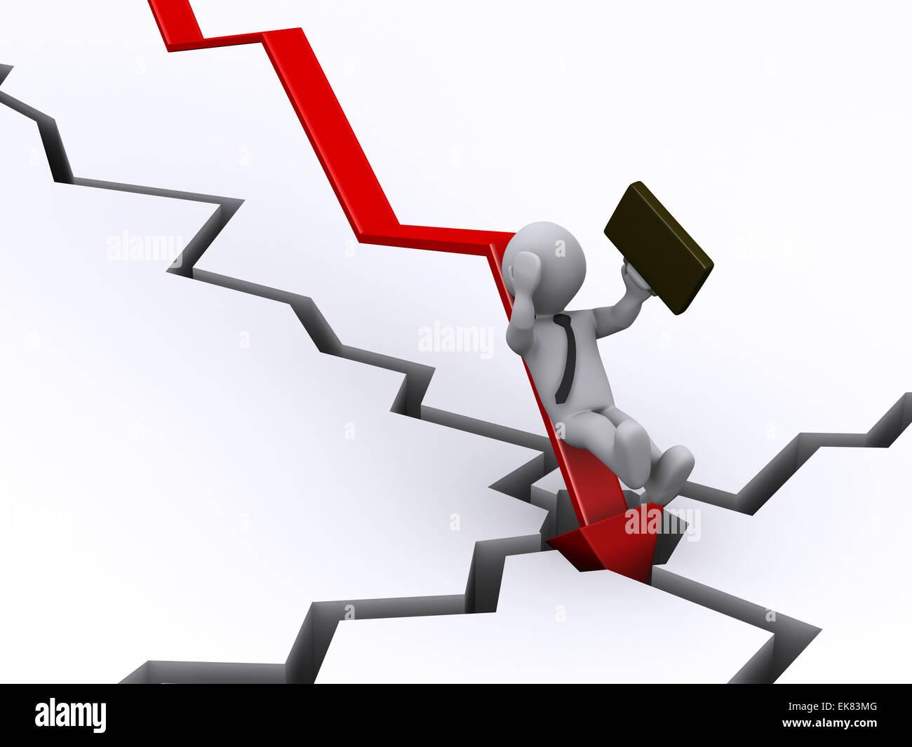 Imprenditore caduta dal grafico Immagini Stock