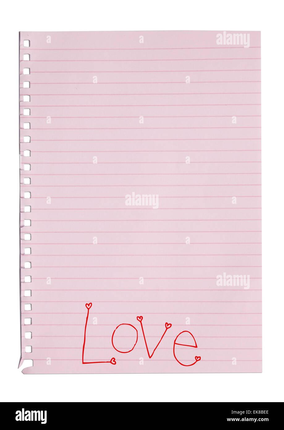 Amore della scrittura parola sulla nota di rosa carta Immagini Stock