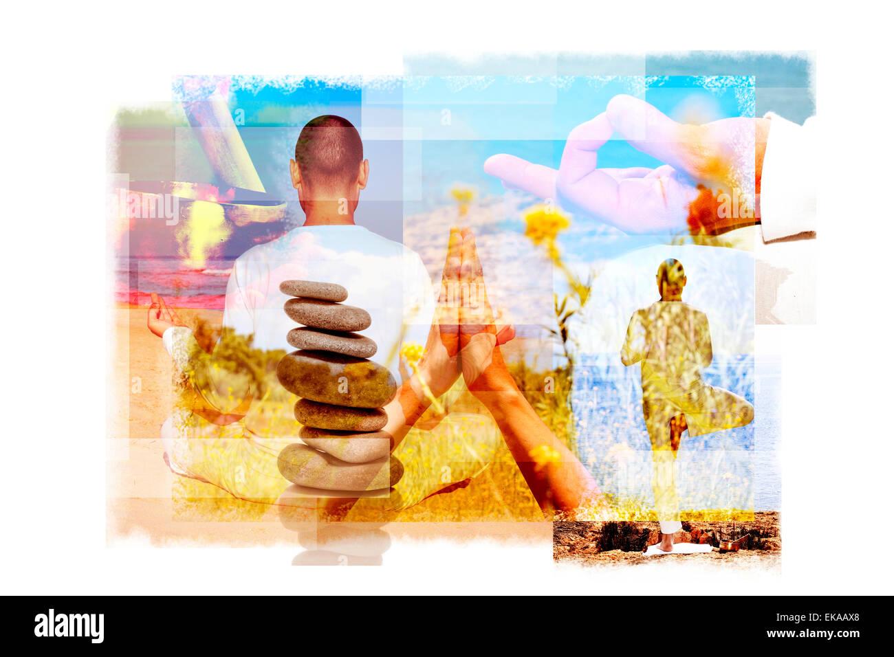 Esposizioni multiple di un giovane uomo yogi in differenti posizioni di yoga all'aperto e una pila di pietre Immagini Stock