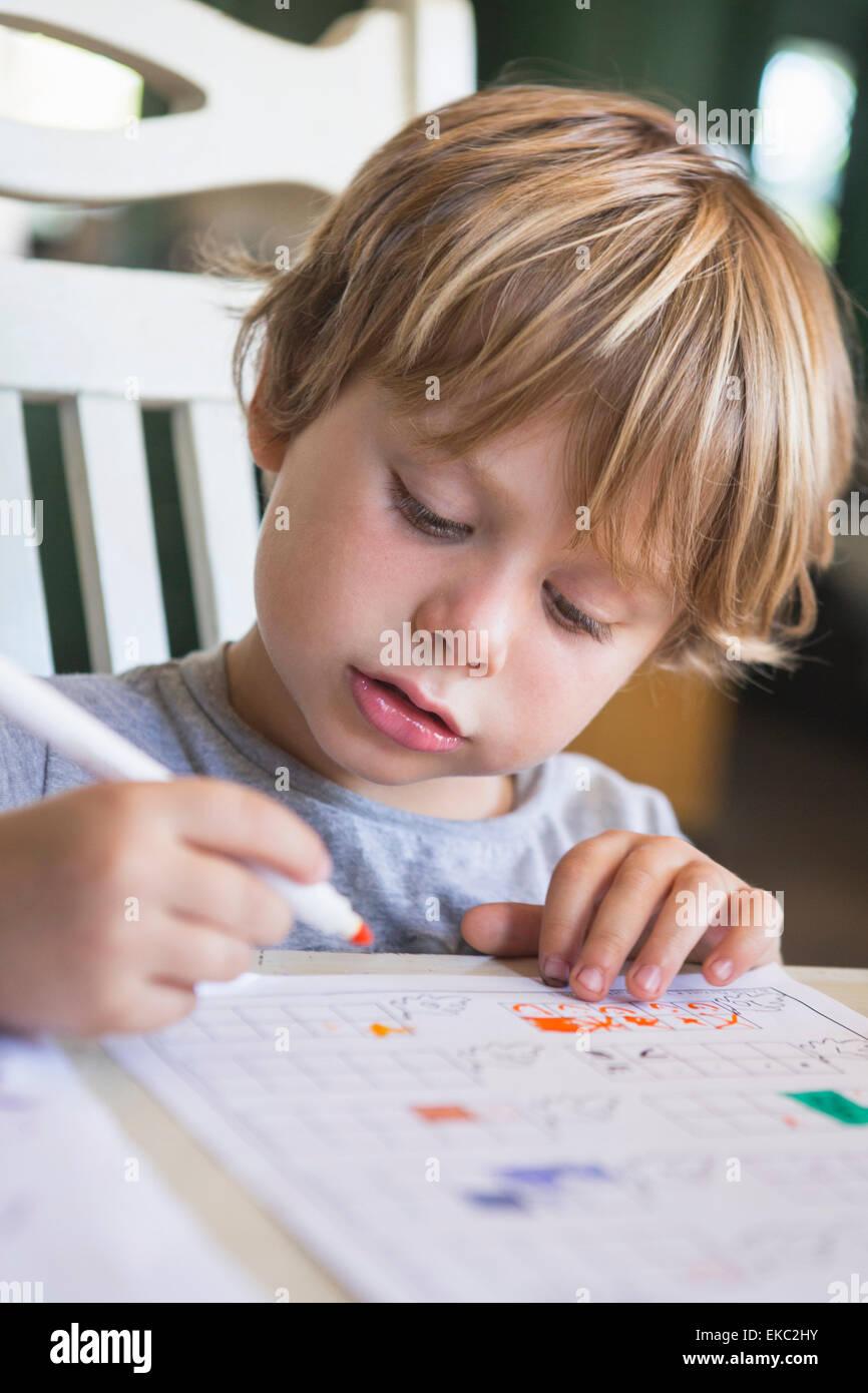Ragazzo giovane facendo i compiti di scuola Foto Stock